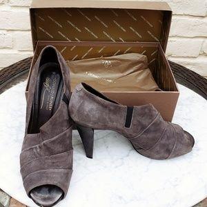 Donald J. Pliner Shoes - Donald J Pliner Lead Suede Peep Toe Heels